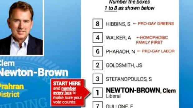 Article image for Liberal MP distributes homophobic how to vote card