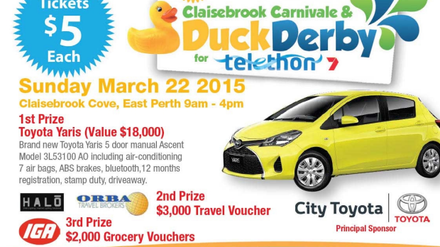 Article image for 2015 Telethon Duck Derby, Sunday March 22 @ Claisebrook Cove, East Perth