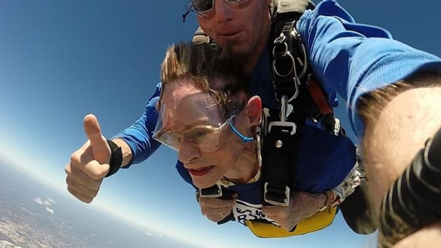 Article image for 91 year old sky diver takes big leap for little animals