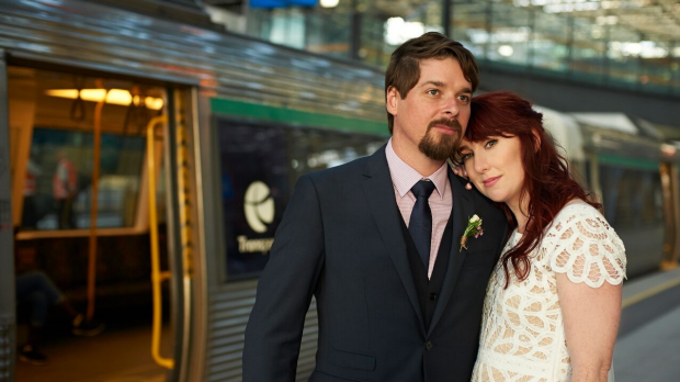 Article image for Perth newlyweds ditch the limo… for the train