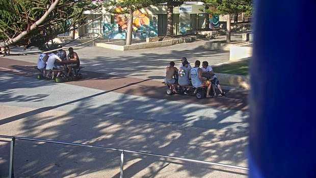 Article image for Police hunt motorised picnic table idiots