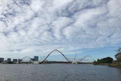 We're getting over the Matagarup Bridge