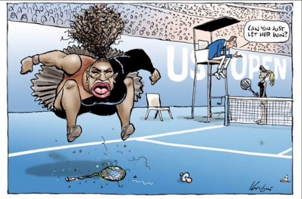 """Article image for Cartoonist internationally slammed as """"racist"""" for Serena Williams sketch"""