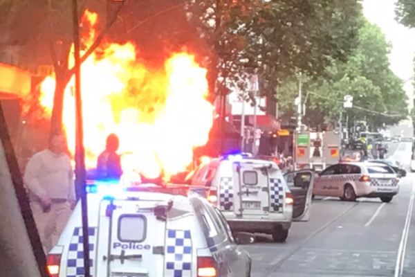 Chaos in Melbourne: Car explodes, man with knife shot by police