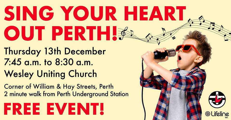 Sing Your Heart Out Perth is coming tomorrow morning at Wesley Church – listen in to learn more.