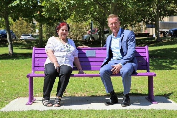 New purple benches are colour for a cause