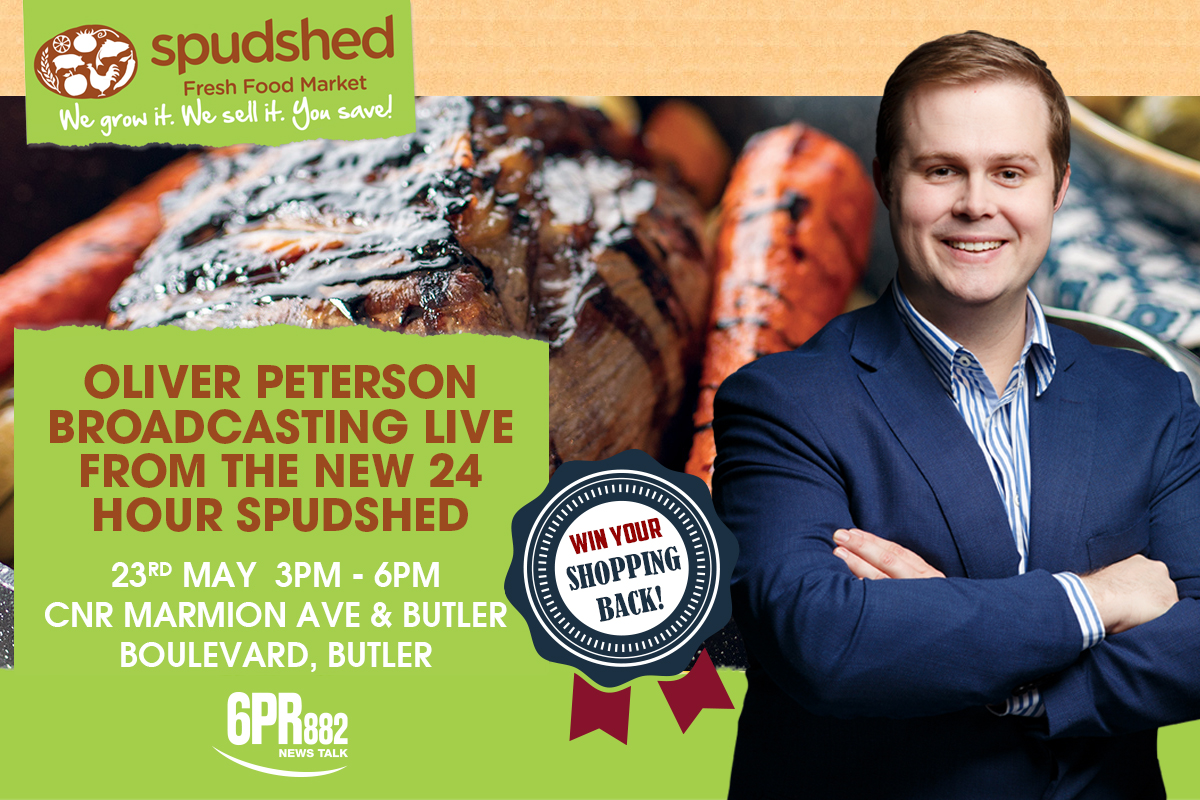 Oliver Peterson broadcasting LIVE from the new 24 hour Spudshed in Butler
