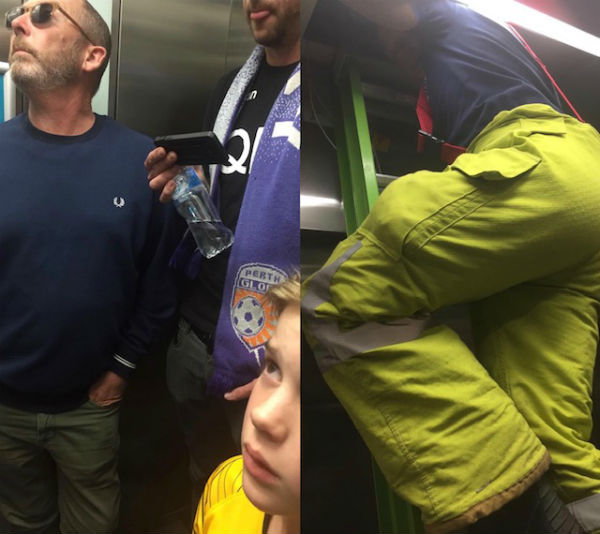 Family treated after trapped in a lift