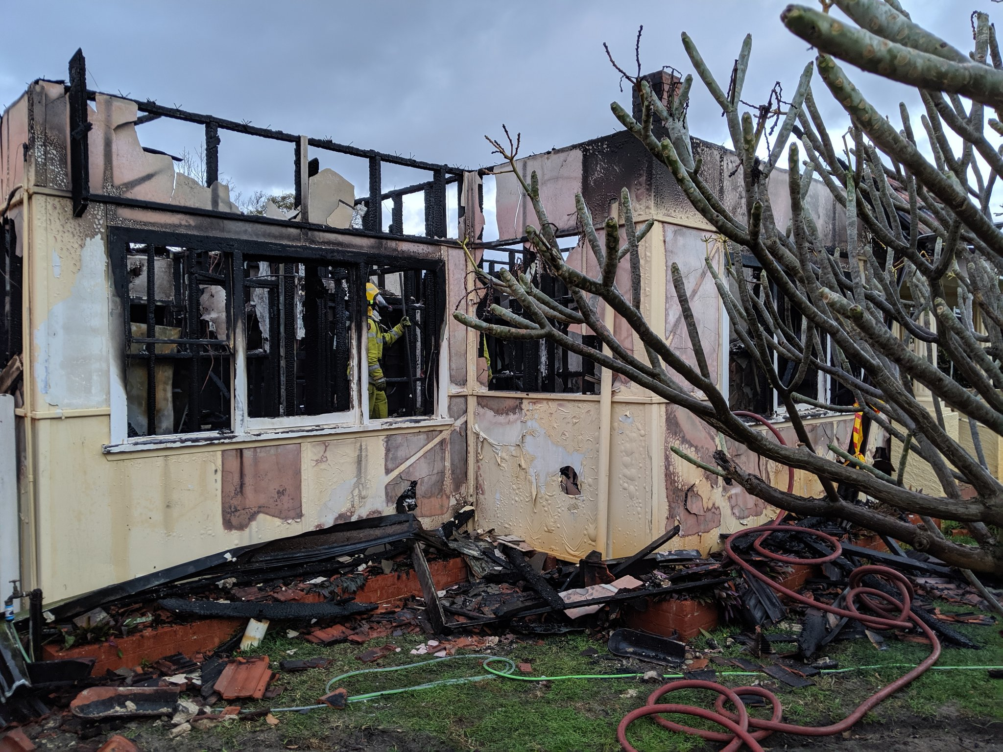 Bedford house goes up in flames