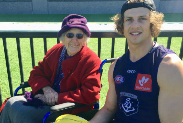Article image for Fremantle fan celebrates her 100th birthday at Grand Final