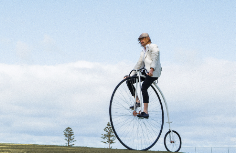 Record ride on a penny farthing