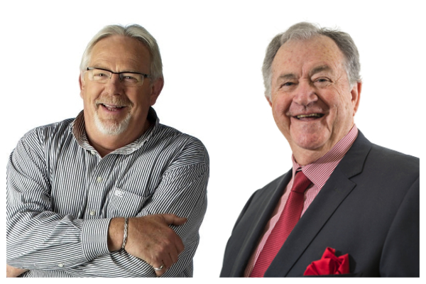 Veteran broadcasters Peter Newman Ted Bull are in the studio