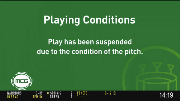 Shield game suspended due to MCG pitch