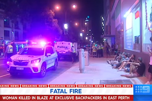 Woman dies after backpacker blaze in East Perth