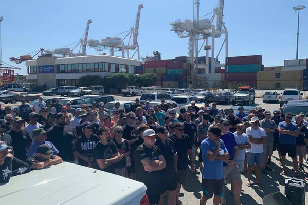 Wharfies walk off the job at Freo Port