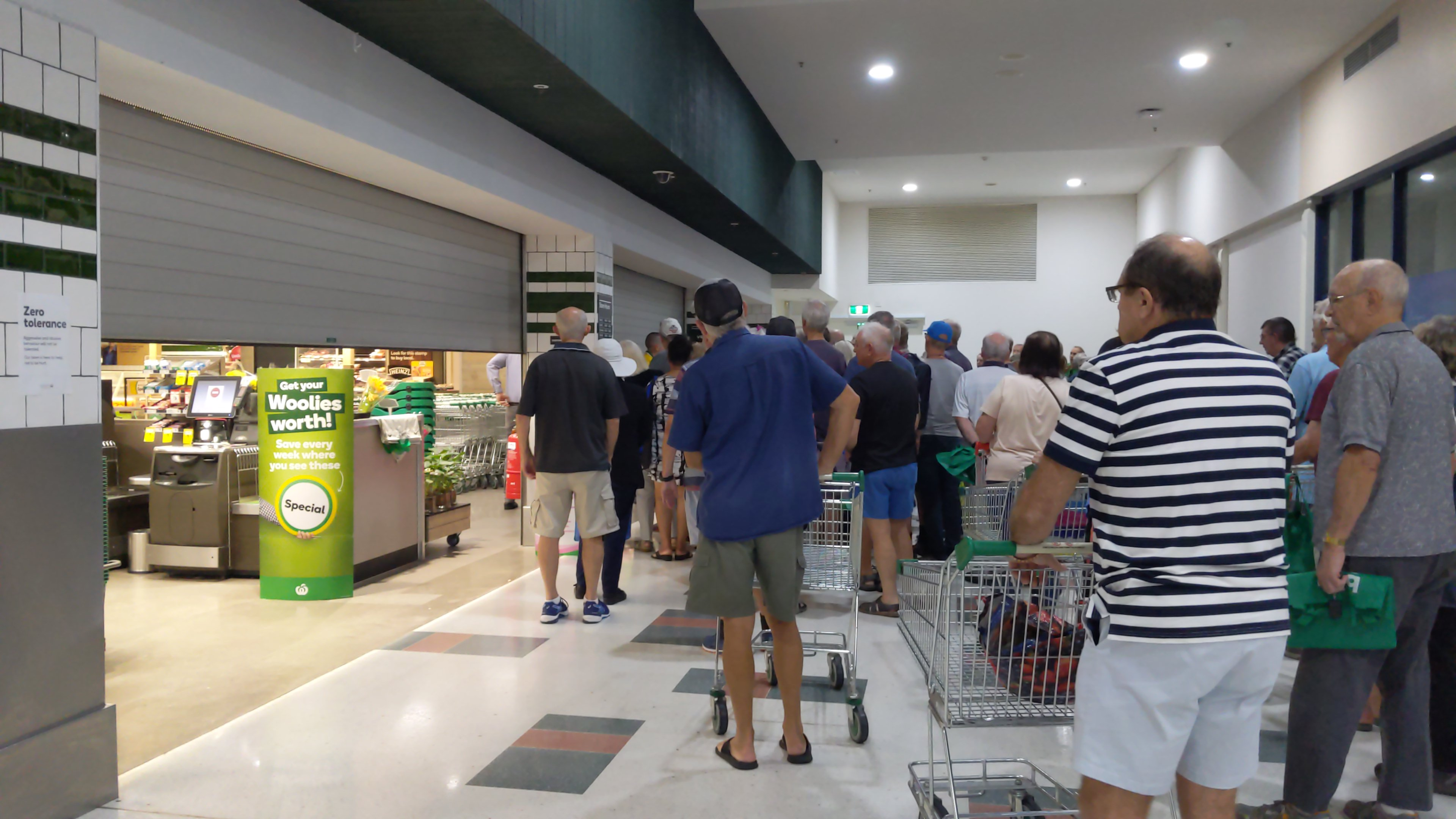 Early morning shopper struggle