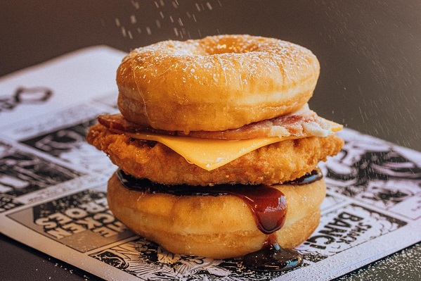 Chicken Treat Has Released The 'DONUT BURGER' And We Tasted It In Studio