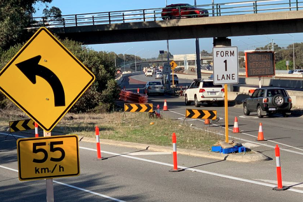 First cars put the newly opened Manning Road on-ramp to the test