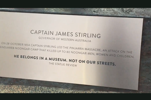 Article image for Artists replace plaques on WA statues to 'rewrite history'