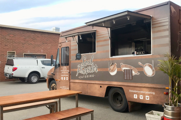 Food truck with doors open