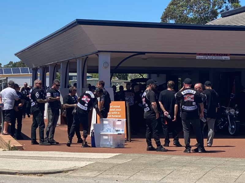 Article image for Bikies arrive at funeral home for Nick Martin's funeral