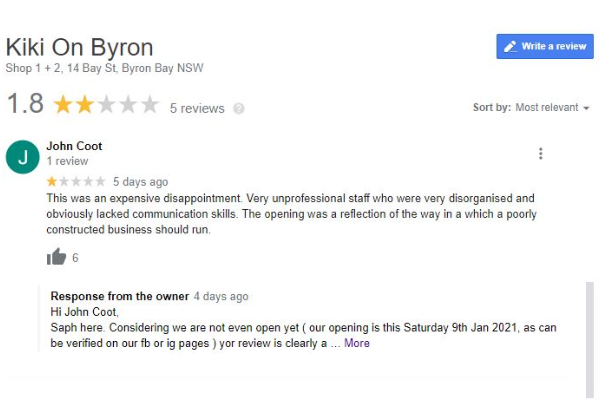 Restaurant opening delayed over fake reviews