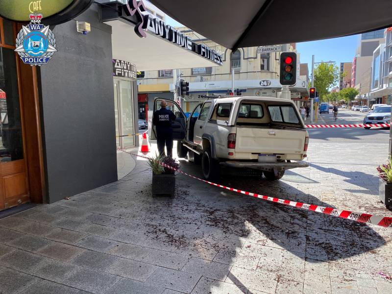 Article image for Arrests after car crashes into bollards at Murray Street Mall