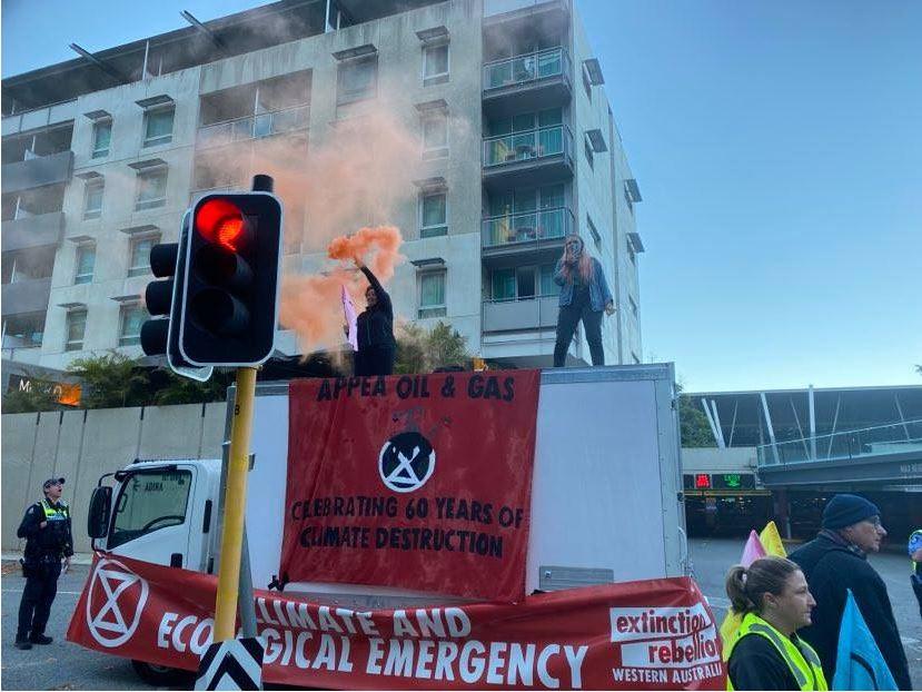 Article image for Extinction Rebellion protestors block streets in Perth CBD
