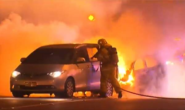 Article image for Man hospitalised after fiery freeway crash
