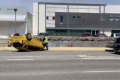 Car flipped in serious car crash in Claremont